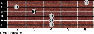C#6/11sus/G# for guitar on frets 4, 4, 4, 3, 2, 6