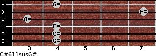 C#6/11sus/G# for guitar on frets 4, 4, 4, 3, 7, 4