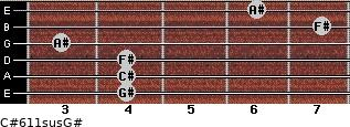 C#6/11sus/G# for guitar on frets 4, 4, 4, 3, 7, 6