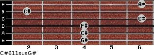 C#6/11sus/G# for guitar on frets 4, 4, 4, 6, 2, 6