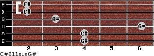 C#6/11sus/G# for guitar on frets 4, 4, 6, 3, 2, 2