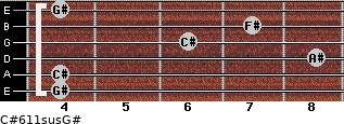 C#6/11sus/G# for guitar on frets 4, 4, 8, 6, 7, 4