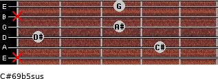 C#6/9b5sus for guitar on frets x, 4, 1, 3, x, 3