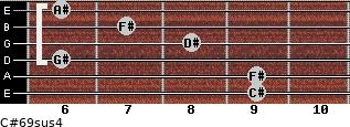 C#6/9sus4 for guitar on frets 9, 9, 6, 8, 7, 6