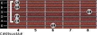 C#6/9sus4/A# for guitar on frets 6, 4, 4, 8, 4, 4