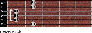 C#6/9sus4/Gb for guitar on frets 2, 1, 1, 1, 2, 2