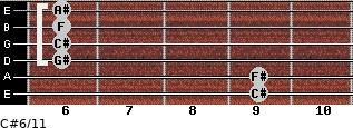 C#6/11 for guitar on frets 9, 9, 6, 6, 6, 6