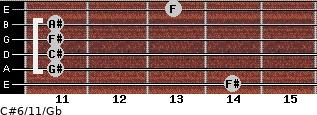 C#6/11/Gb for guitar on frets 14, 11, 11, 11, 11, 13