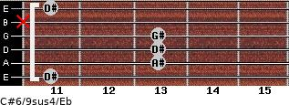 C#6/9sus4/Eb for guitar on frets 11, 13, 13, 13, x, 11