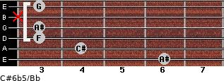 C#6b5/Bb for guitar on frets 6, 4, 3, 3, x, 3