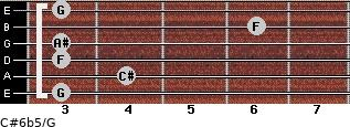 C#6b5/G for guitar on frets 3, 4, 3, 3, 6, 3