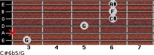 C#6b5/G for guitar on frets 3, x, 5, 6, 6, 6