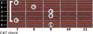 C#º7 for guitar on frets 9, 7, 9, 9, 8, 7