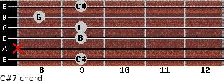 C#º7 for guitar on frets 9, x, 9, 9, 8, 9