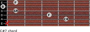 C#7 for guitar on frets x, 4, 3, 1, 0, 1