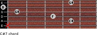 C#7 for guitar on frets x, 4, 3, 1, 0, 4