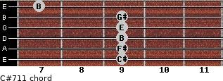 C#-7/11 for guitar on frets 9, 9, 9, 9, 9, 7