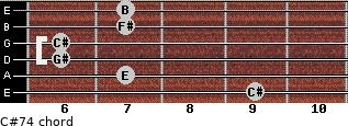 C#-7/4 for guitar on frets 9, 7, 6, 6, 7, 7
