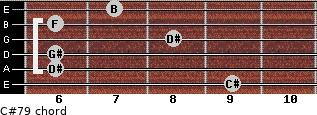 C#7/9 for guitar on frets 9, 6, 6, 8, 6, 7