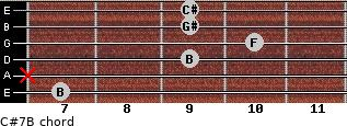 C#7/B for guitar on frets 7, x, 9, 10, 9, 9