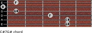 C#7/G# for guitar on frets 4, 4, 3, 1, 0, 1
