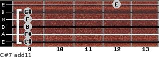 C#-7(add11) for guitar on frets 9, 9, 9, 9, 9, 12