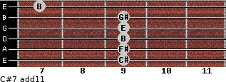 C#-7(add11) for guitar on frets 9, 9, 9, 9, 9, 7