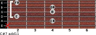 C#-7(add11) for guitar on frets x, 4, 2, 4, 4, 2