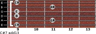 C#-7(add13) for guitar on frets 9, 11, 9, 9, 11, 9