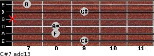 C#7(add13) for guitar on frets 9, 8, 8, x, 9, 7