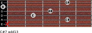 C#-7(add13) for guitar on frets x, 4, 2, 3, 0, 4