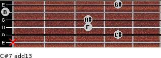 C#7(add13) for guitar on frets x, 4, 3, 3, 0, 4