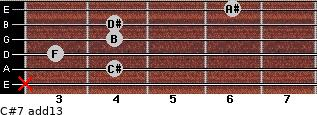 C#7(add13) for guitar on frets x, 4, 3, 4, 4, 6