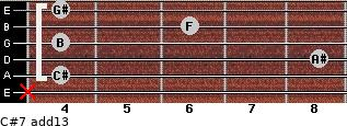 C#7(add13) for guitar on frets x, 4, 8, 4, 6, 4
