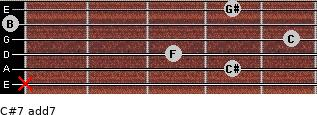 C#7 add(7) for guitar on frets x, 4, 3, 5, 0, 4