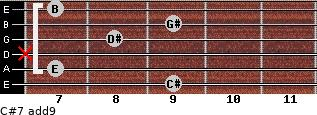 C#-7(add9) for guitar on frets 9, 7, x, 8, 9, 7