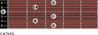 C#7b5/G for guitar on frets 3, 2, 3, 0, 2, 3
