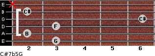 C#7b5/G for guitar on frets 3, 2, 3, 6, 2, x