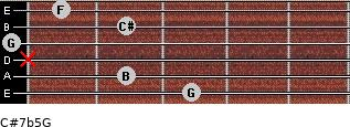 C#7b5/G for guitar on frets 3, 2, x, 0, 2, 1