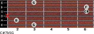 C#7b5/G for guitar on frets 3, 2, x, 6, 6, 3
