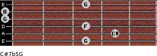 C#7b5/G for guitar on frets 3, 4, 3, 0, 0, 3