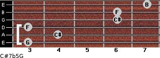 C#7b5/G for guitar on frets 3, 4, 3, 6, 6, 7