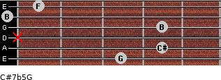 C#7b5/G for guitar on frets 3, 4, x, 4, 0, 1