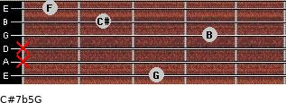 C#7b5/G for guitar on frets 3, x, x, 4, 2, 1