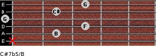 C#7b5/B for guitar on frets x, 2, 3, 0, 2, 3