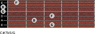 C#7b5/G for guitar on frets 3, 2, 3, 0, 0, 1
