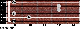 C#7b5sus for guitar on frets 9, 10, 9, 12, 12, 9