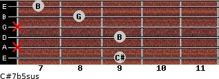 C#7b5sus for guitar on frets 9, x, 9, x, 8, 7