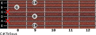 C#7b5sus for guitar on frets 9, x, 9, x, 8, 9