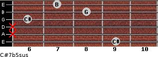 C#7b5sus for guitar on frets 9, x, x, 6, 8, 7